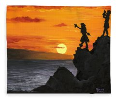 Fleece Blanket featuring the painting Black Rock Maui by Darice Machel McGuire