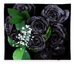 Black Roses Bouquet Fleece Blanket