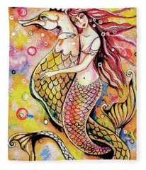 Black Sea Mermaid Fleece Blanket