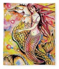 Black Sea Mermaid Fleece Blanket