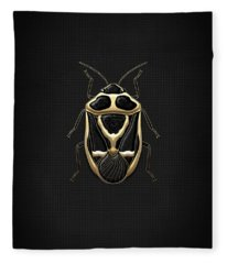 Black Shieldbug With Gold Accents  Fleece Blanket