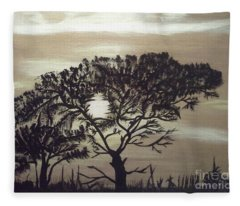 Black Silhouette Tree Fleece Blanket