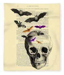 Black Skull And Bats On A Dictionary Page Fleece Blanket