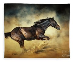 Black Stallion Horse Galloping Like A Devil Fleece Blanket