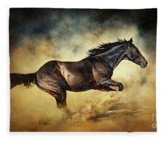 Black Stallion Horse Galloping Like A Devil Fleece Blanket