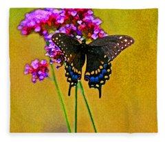 Black Swallowtail Butterfly Bright Fleece Blanket