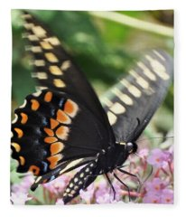 Black Swallowtail Butterfly On Pink Fleece Blanket