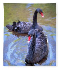 Black Swans Fleece Blanket