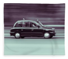 Black Taxi Bw Blur Fleece Blanket