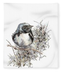 Black-throated Blue Warbler Fleece Blanket