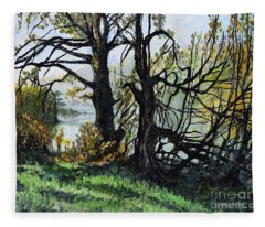 Black Trees Entanglement Fleece Blanket