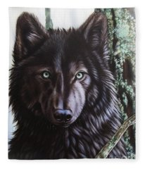 Black Wolf Fleece Blanket