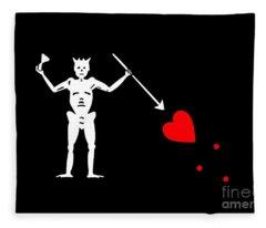 Blackbeard Pirate Flag Tee Fleece Blanket