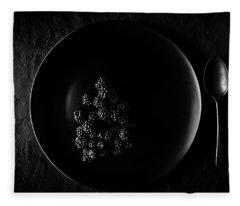 Blackberries On Black Plate  Fleece Blanket