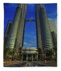 Blast Off At The Petronas Twin Towers, Kuala Lumpur, Malaysia Fleece Blanket
