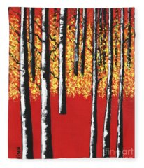 Blazing Birches Fleece Blanket