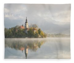 Bled Lake On A Beautiful Foggy Morning Fleece Blanket