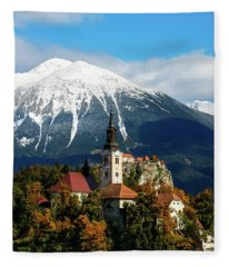 Bled Lake With Snow On The Mountains In Autumn Fleece Blanket