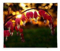 Bleeding Heart Sunset Fleece Blanket