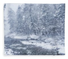 Blizzard Conditions On Williams River Fleece Blanket