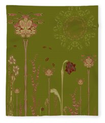 Blob Flower Garden Full View Fleece Blanket