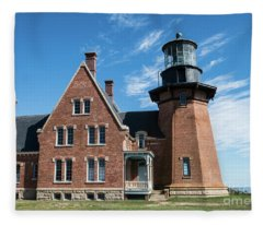Block Island Southeast Light Historic Lighthouse Fleece Blanket