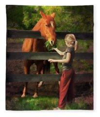 Blond With Horse Fleece Blanket