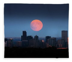 Blood Moon Over Denver Fleece Blanket