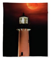 Blood Moon Rising Over Jupiter Lighthouse In Florida Fleece Blanket