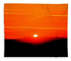 Blood Red Sunset Fleece Blanket