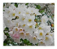 Blooming Cherry Blossoms Fleece Blanket