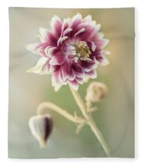 Blooming Columbine Flower Fleece Blanket