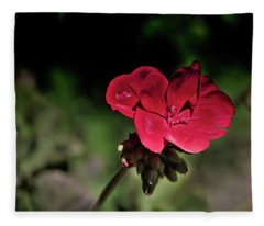 Blooming Red Geranium Fleece Blanket