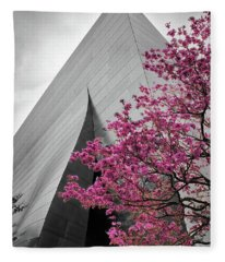 Blooming Tree Near Disney Hall Fleece Blanket