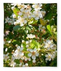 White Blooms Of  Nature Fleece Blanket