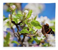 Blossoms And Butterfly Fleece Blanket