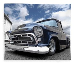 Blue 57 Stepside Chevy Fleece Blanket