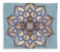 Blue And White Mandala Fleece Blanket