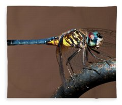 Blue And Gold Dragonfly Fleece Blanket