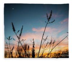 Blue And Gold Sunset Fleece Blanket