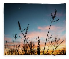 Blue And Gold Sunset Fleece Blanket