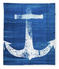Blue And White Anchor- Art By Linda Woods Fleece Blanket