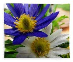 Blue And White Anemones Fleece Blanket