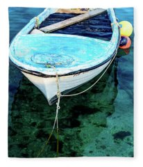 Blue And White Fishing Boat On The Adriatic - Rovinj, Croatia Fleece Blanket