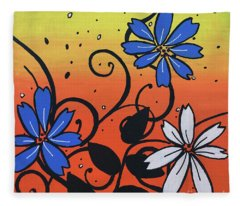 Blue And White Flowers Fleece Blanket