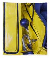 Blue And Yellow Vintage Car Detail Fleece Blanket