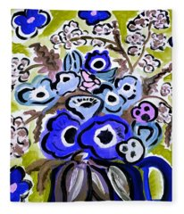 Blue Anemones Fleece Blanket