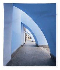 Blue Arch Hallway Fleece Blanket