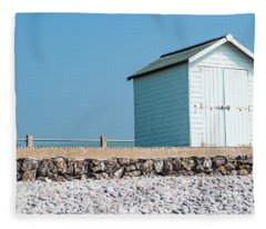 Blue Beach Hut Fleece Blanket