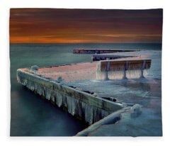 Blue Bench Fleece Blanket